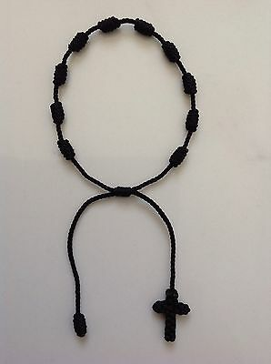 Black Decenario Knotted Rosary Stylish Pulseras Trendy Celebrity Bracelet