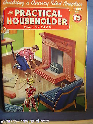 Practical Householder Mag Fj Camm February 1957 Building Quarry Tiled Fireplace