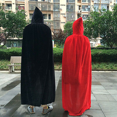 Adult Cape Cloak Robe Halloween Vampire Witch Wizard Fancy Dress Costume