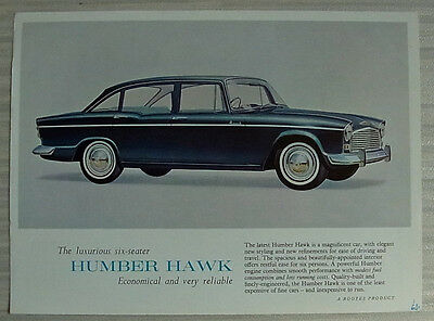 HUMBER HAWK SERIES IV SALOON Car Sales Specification Leaflet 1964-65 #1100/H