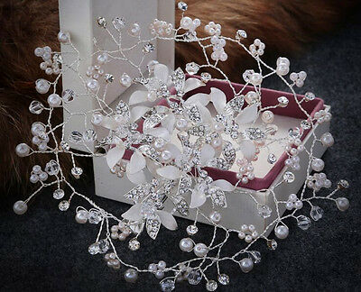 Diamante Wedding Hair Vine Crystal Bridal Accessories Pearls Headpiece 1 Piece