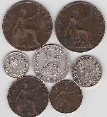 1902 Edward Vii Part Set Of Seven Coins In Good Fine Or Better Condition