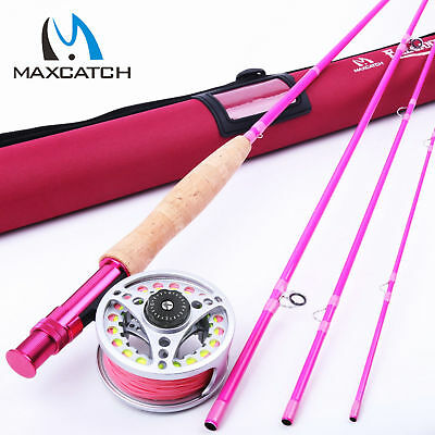 Hot Pink Fly Rod and Reel Combo Kit 5WT 9FT YOUTH FLY FISHING Fly Line