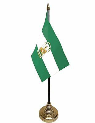 """ANDALUSIA DESKTOP TABLE FLAG 6""""X4"""" 15cm x 10cm flags Andalucia SPAIN SPANISH"""