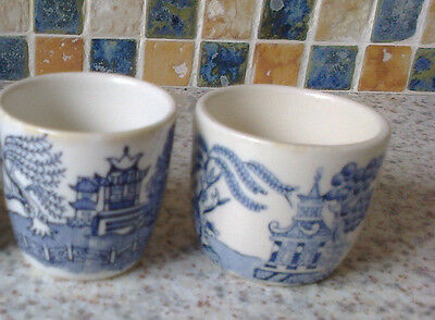 England Willow Pattern 2 X Egg Cups