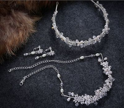 Crystal Hair Vine Pearls Wedding Accessories Bridal Necklace & Earring Headband