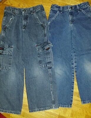 Lot Of 2 Pairs Of Boy's Jeans By Wrangler Size 8 Reg W/ Adjustable Waistbands
