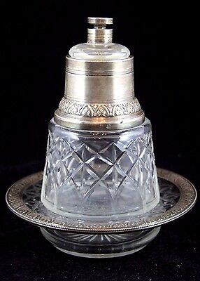 French Silver & Cut Crystal Set of Plate, Bottle and Double Stopper