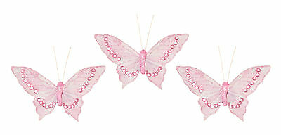 3 x Pale Pink Clip on Butterflies Christmas | Wedding Butterfly Decoration Picks