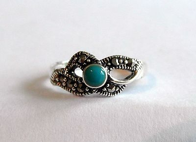 Sterling Silver (925) Adjustable  Toe Ring  With  Turquoise  Stone  !!   New !!