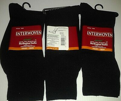 Interwoven by Burlington, Nylon Dress Crew Socks, Black, 24 Pair only $35.99