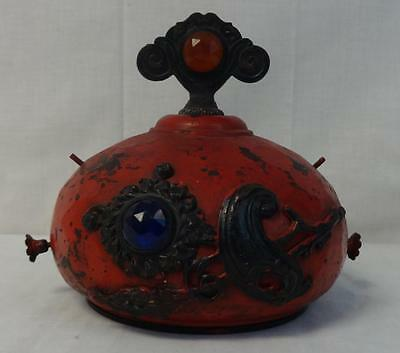 Antique & Rare Metal & Jewel Decorated Gas Pump Topper WOW!