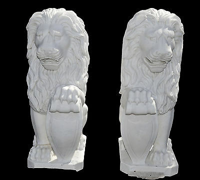 Pair of Hand Carved White Marble Guardian Lions