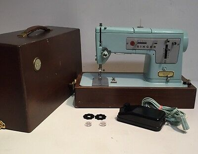 Blue Singer 338 Heavy Duty Zig-Zag Sewing Machine In Wood Case Leather And Denim
