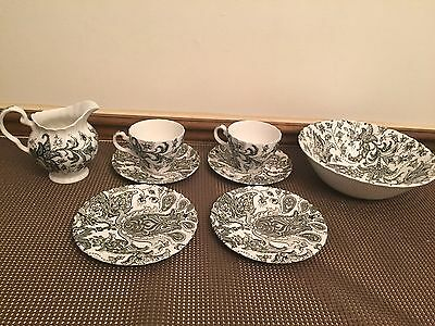 """Lot of 8 Pieces ~ Johnson Brothers """"PAISLEY"""" Ironstone ~ Black & White"""