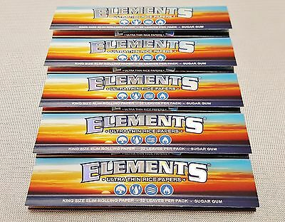 5 Packs Elements King Size Slim Cigarette Rolling Papers 32 Per Pack Free Ship