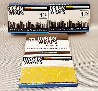 3 Packs Urban Wraps Filter Printed Gummed 1 1/2 Cigarette Rolling Papers 33 Per