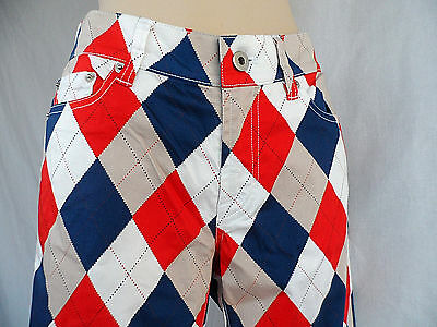 Loud Mouth Golf Womens Long Pants Red White & Blue Argyle Size 4 New