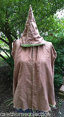 Antique Vintage 1910-30s Child's Witch Halloween Costume Cape Outfit Brown Green