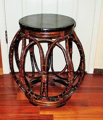 Chinese Carved Bamboo Wood Drum Barrel Chair Stool Table Planter Stand Ornate!