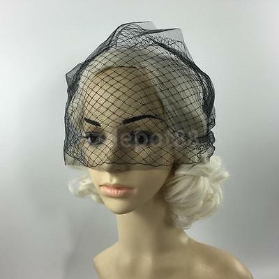 WEDDING BRIDAL BLUSHER Fascinator Net Birdcage Face Veil Black ... dc5b72aa72b
