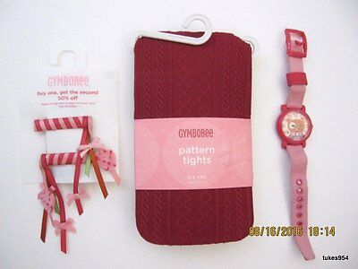 Gymboree Mix n Match Watch Hair Tights Red Pink 3-4 Set NWT New 4 pc Set