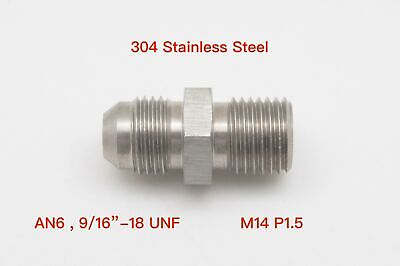 AN6 AN-6 to M14x1.5 Metric Stainless Brake Fittings Adapter 9/16x18 UNF