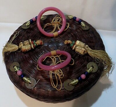 Vintage Large Chinese Sewing Basket -Lucky Coins
