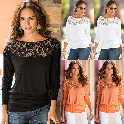UK 8-16 New Women Ladies Long Sleeve Lace T Shirt Blouse Top Casual Loose Tops