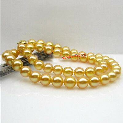 """18"""" AAAAA 9-8mm round south sea golden natural pearl necklace 14K gold clasp"""