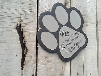 Personalised Engraved Slate Pet Paw Print Rabbit Cat Dog Plaque