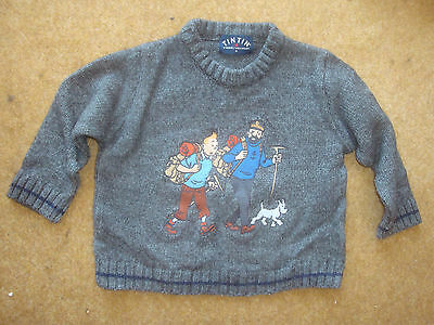 Lovely and very rare Tintin Wool/Acrylic Jumper/Sweater (grey) - age 4