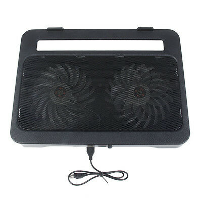 """2 Fan Laptop Cooling Cooler Pad Stand for Notebook PC 15"""" 2 USB Port Black IT"""