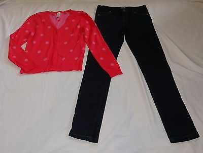 Girls size 10  blue denim jeans &  pinky red spot cotton  knitted cardigan