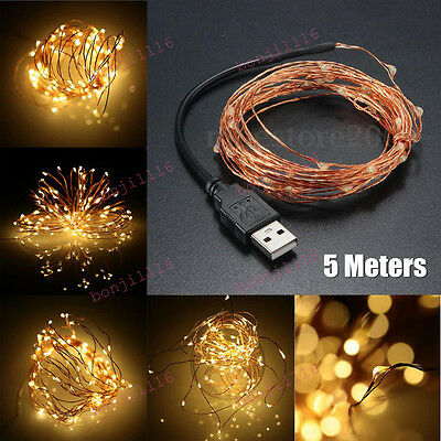 5M/3M/2M Waterproof New USB Operated Copper Wire String Fairy Lights Christmas