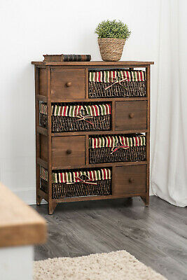 Wicker Basket Storage Unit Bedside Table Cabinet Chest Drawers Maize