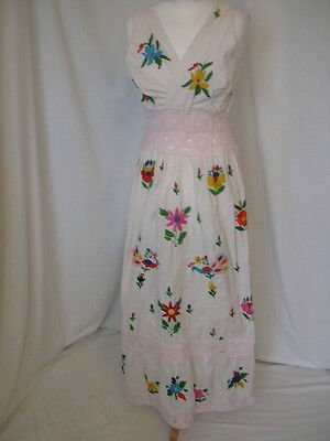 Mexican Colorful Embroidered Floral Peacocks Ethnic Boho Sun Dress Uk 14 Us 10