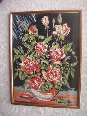 Attractive Framed Needlepoint ~Floral Decoration ~Roses