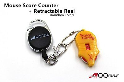 A99 Golf Mini Two-Dial Mouse Score Counter + Retractable Reel