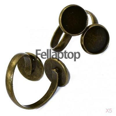 10 Pcs Retro Bronze Adjustable Ring Pad Base Blanks Findings fit 12mm Cabochon