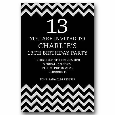 Personalised BOYS GIRLS Teenager 13th Birthday Party Invitations Invites T066