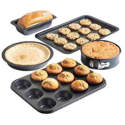 5 Piece Bakeware Set Kitchen Oven Muffin Tray Cake Pan Spring Form Tin Non Stick