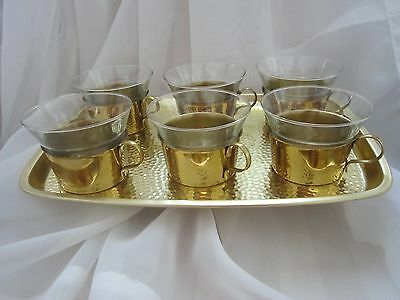 New in Box - Set of 6 Glass Tea Cups in Brass Holders with Tray, Made in Germany