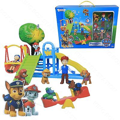 PAW PATROL Park Playground 8 PCS Chase Rubble Katie Ryder Figures Kids Gift Toys