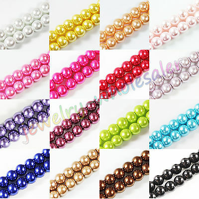 Wholesale Glass Pearl Round Spacer Loose Beads Jewelry Finding 4/6/8/10/12MM DIY
