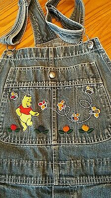 Winnie the Pooh Bumble Bees OVERALLS embroidered Disney WOMEN'S LARGE denim JEAN