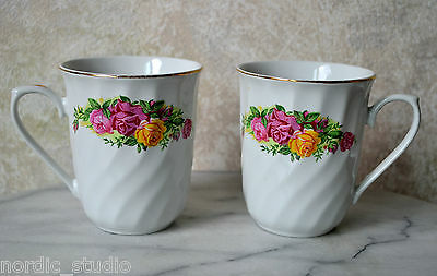 REGENT CHINA set 2 MUGS coffee tea  - pattern ENGLISH ROSE - red pink yellow