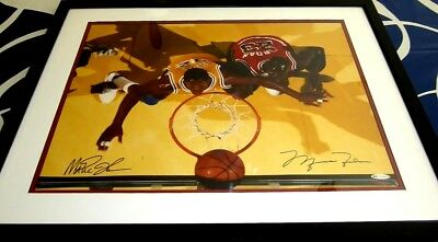 Michael Jordan & Magic Johnson dual signed auto UDA 16x20 photo matted & framed