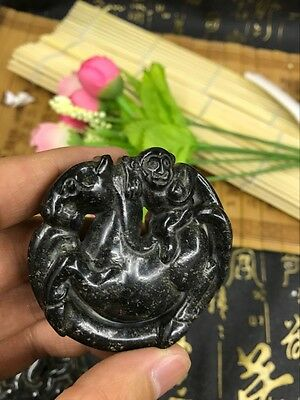 Chinese Antique culture natural old jade hand-carved Monkey on horseback pendant