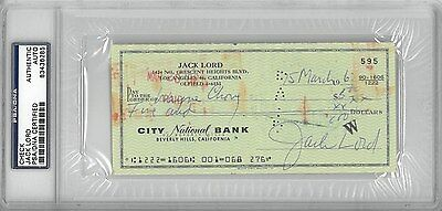Jack Lord Signed Authentic Autographed Check Slabbed PSA/DNA #83436285